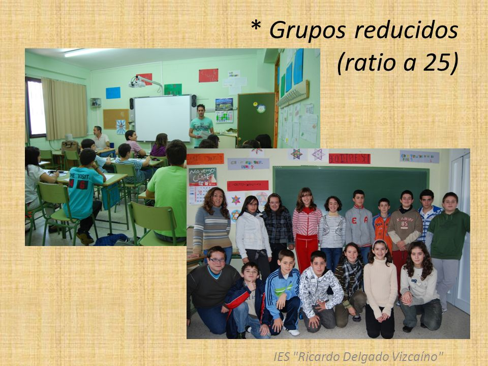* Grupos reducidos (ratio a 25)
