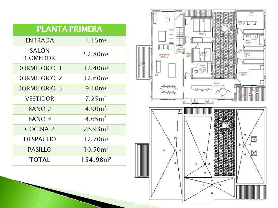 PLANTA PRIMERA ENTRADA 1.15m2 SALÓN COMEDOR 52.80m2 DORMITORIO 1