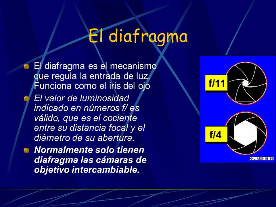 El diafragma El diafragma es el mecanismo que regula la entrada de luz. Funciona como el iris del ojo.