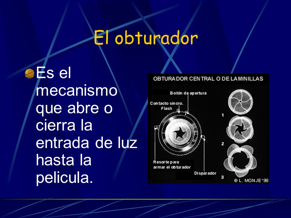 El obturador Es el mecanismo que abre o cierra la entrada de luz hasta la pelicula.