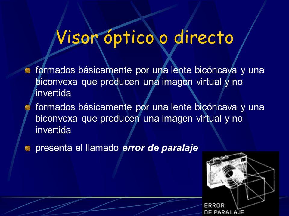 Visor óptico o directo formados básicamente por una lente bicóncava y una biconvexa que producen una imagen virtual y no invertida.