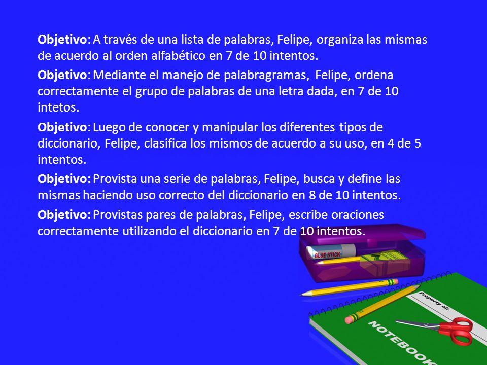 Objetivo: A través de una lista de palabras, Felipe, organiza las mismas de acuerdo al orden alfabético en 7 de 10 intentos.