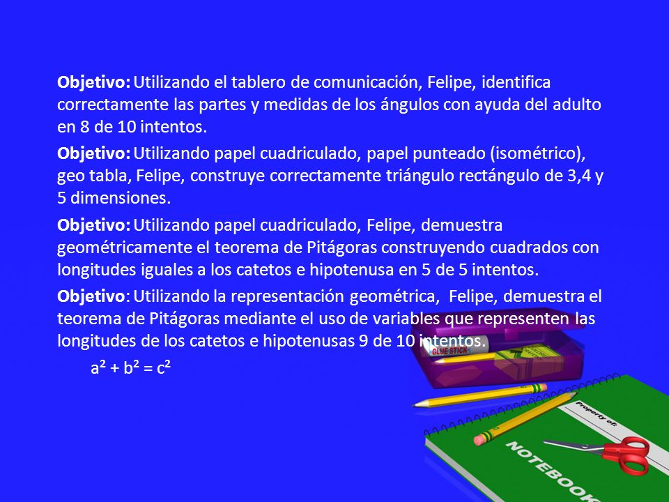 Objetivo: Utilizando el tablero de comunicación, Felipe, identifica correctamente las partes y medidas de los ángulos con ayuda del adulto en 8 de 10 intentos.