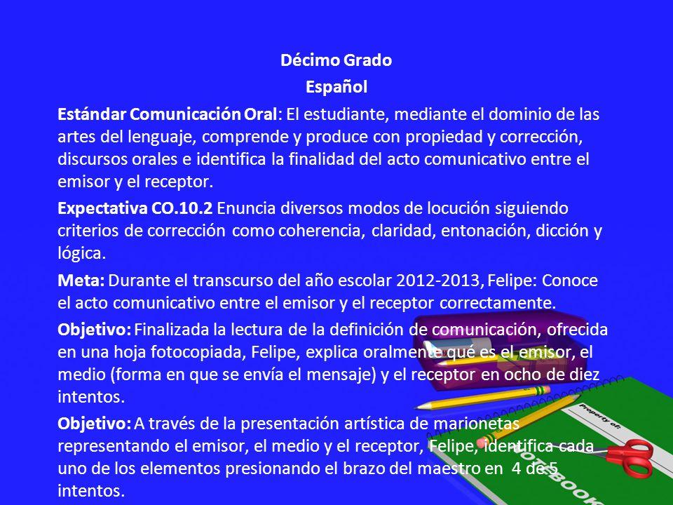 Décimo Grado Español Estándar Comunicación Oral: El estudiante, mediante el dominio de las artes del lenguaje, comprende y produce con propiedad y corrección, discursos orales e identifica la finalidad del acto comunicativo entre el emisor y el receptor.