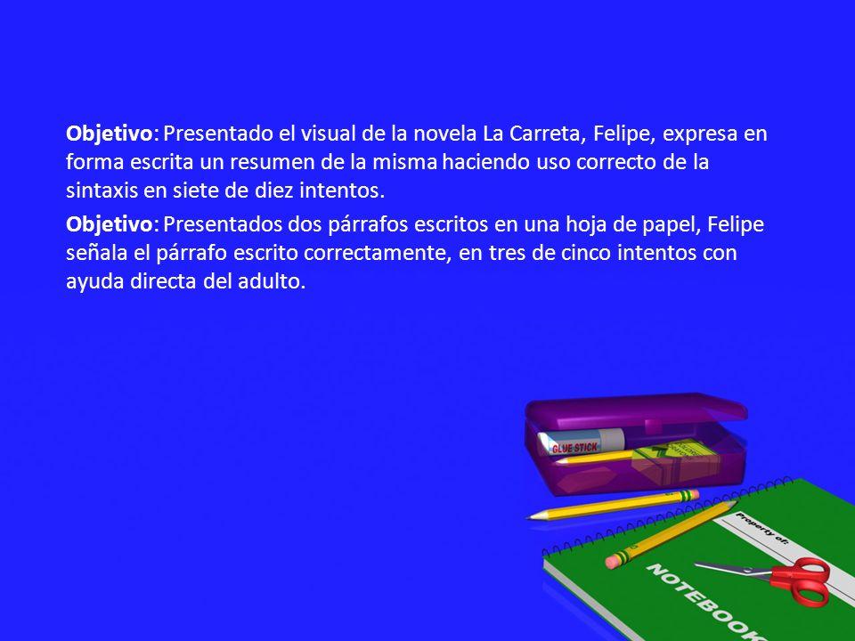 Objetivo: Presentado el visual de la novela La Carreta, Felipe, expresa en forma escrita un resumen de la misma haciendo uso correcto de la sintaxis en siete de diez intentos.