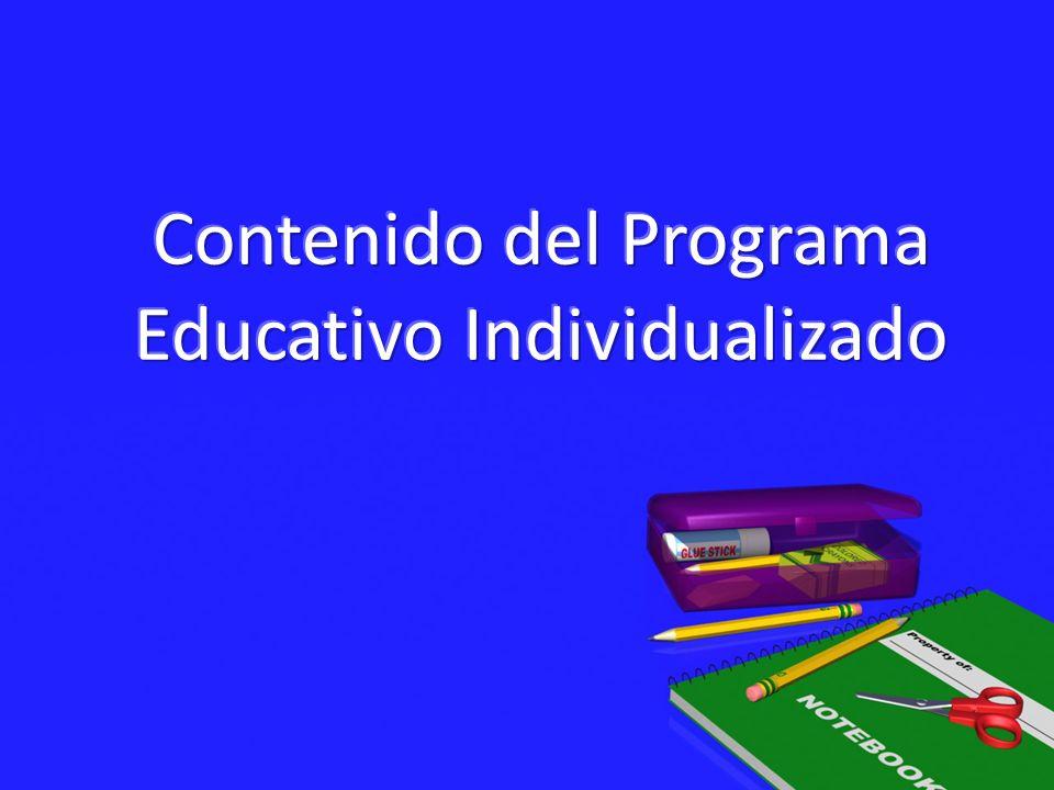 Contenido del Programa Educativo Individualizado