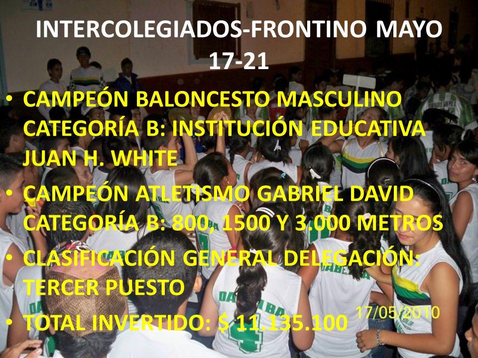 INTERCOLEGIADOS-FRONTINO MAYO 17-21