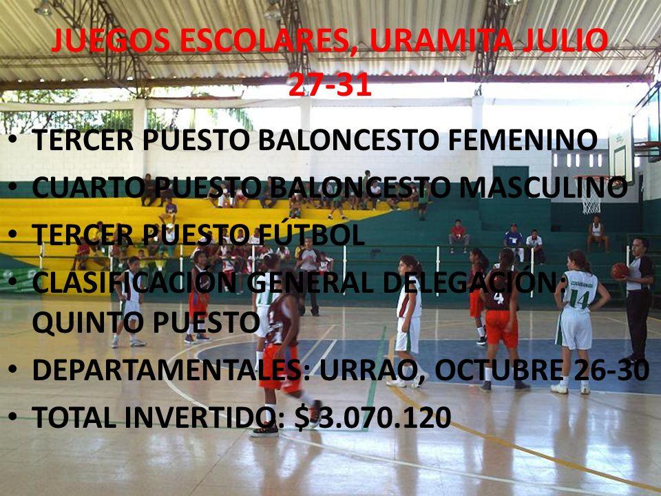 JUEGOS ESCOLARES, URAMITA JULIO 27-31