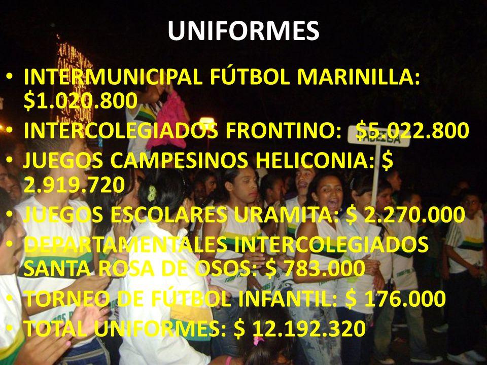 UNIFORMES INTERMUNICIPAL FÚTBOL MARINILLA: $1.020.800