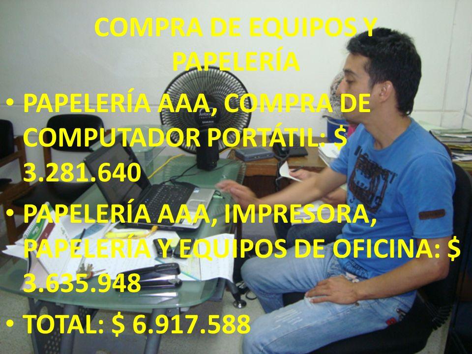 COMPRA DE EQUIPOS Y PAPELERÍA