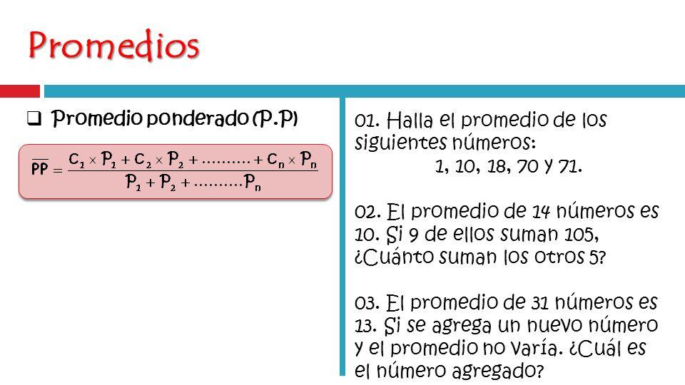 Promedios Promedio ponderado (P.P)