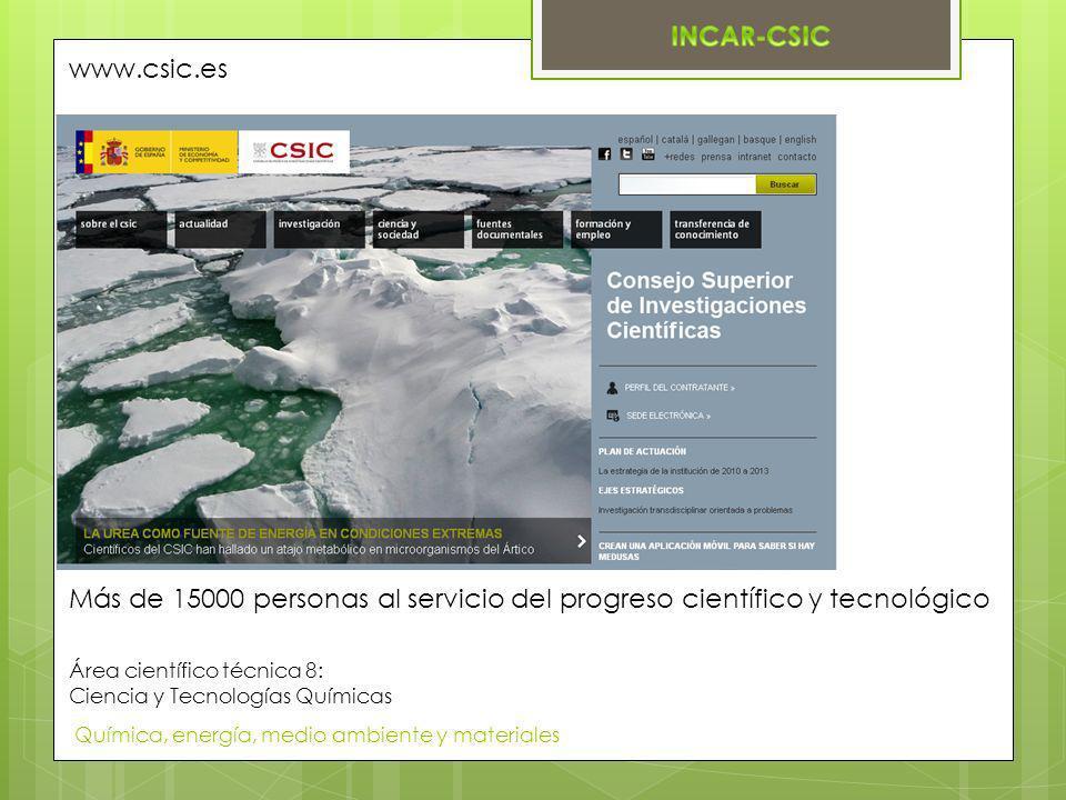 www.csic.es Más de 15000 personas al servicio del progreso científico y tecnológico. Área científico técnica 8: