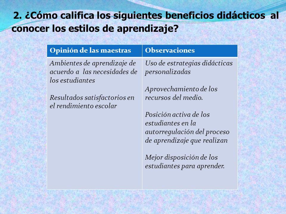 2. ¿Cómo califica los siguientes beneficios didácticos al conocer los estilos de aprendizaje
