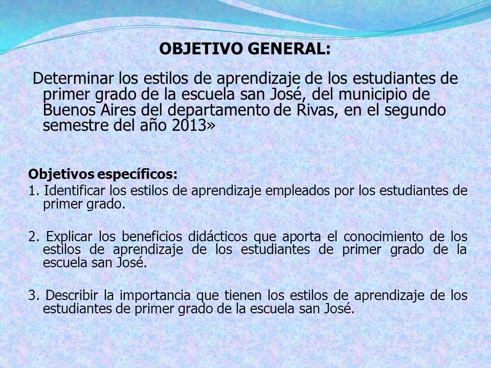 OBJETIVO GENERAL: Objetivos específicos: