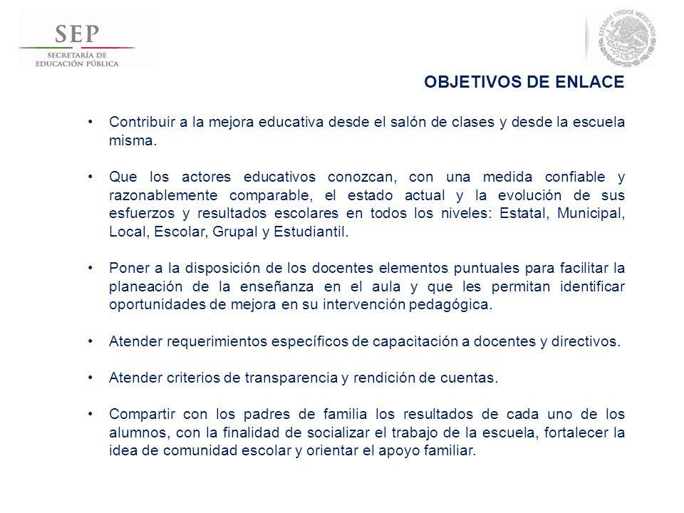 OBJETIVOS DE ENLACE Contribuir a la mejora educativa desde el salón de clases y desde la escuela misma.