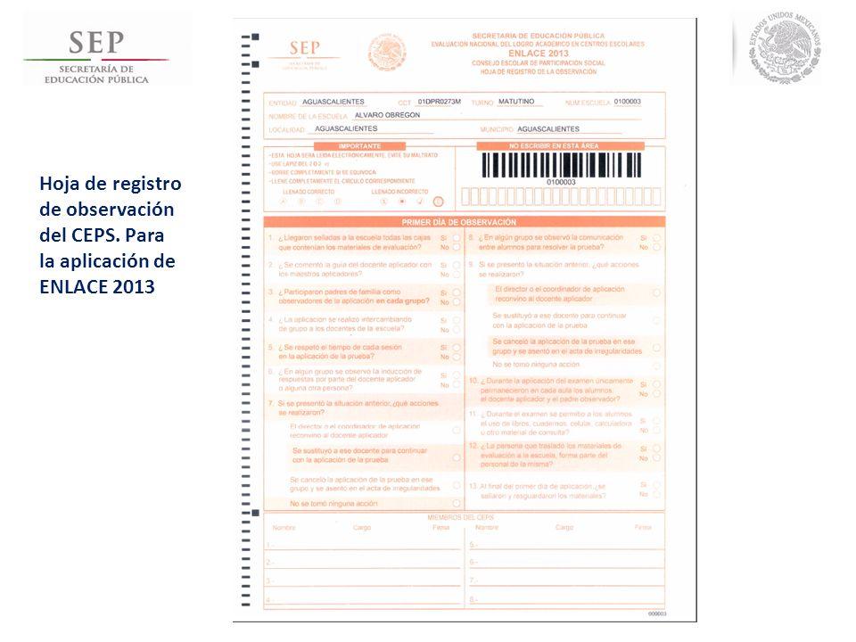 Hoja de registro de observación del CEPS
