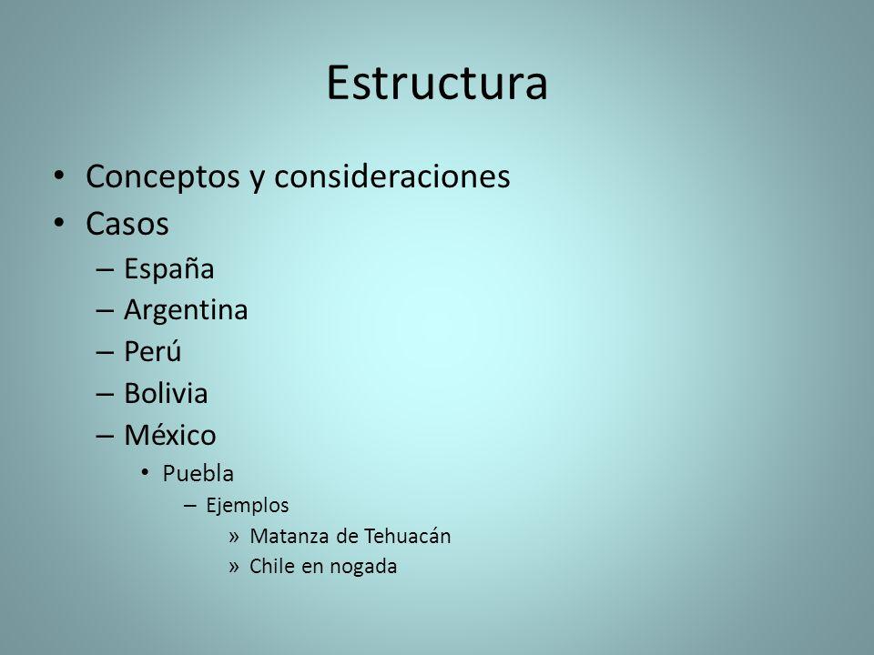 Estructura Conceptos y consideraciones Casos España Argentina Perú