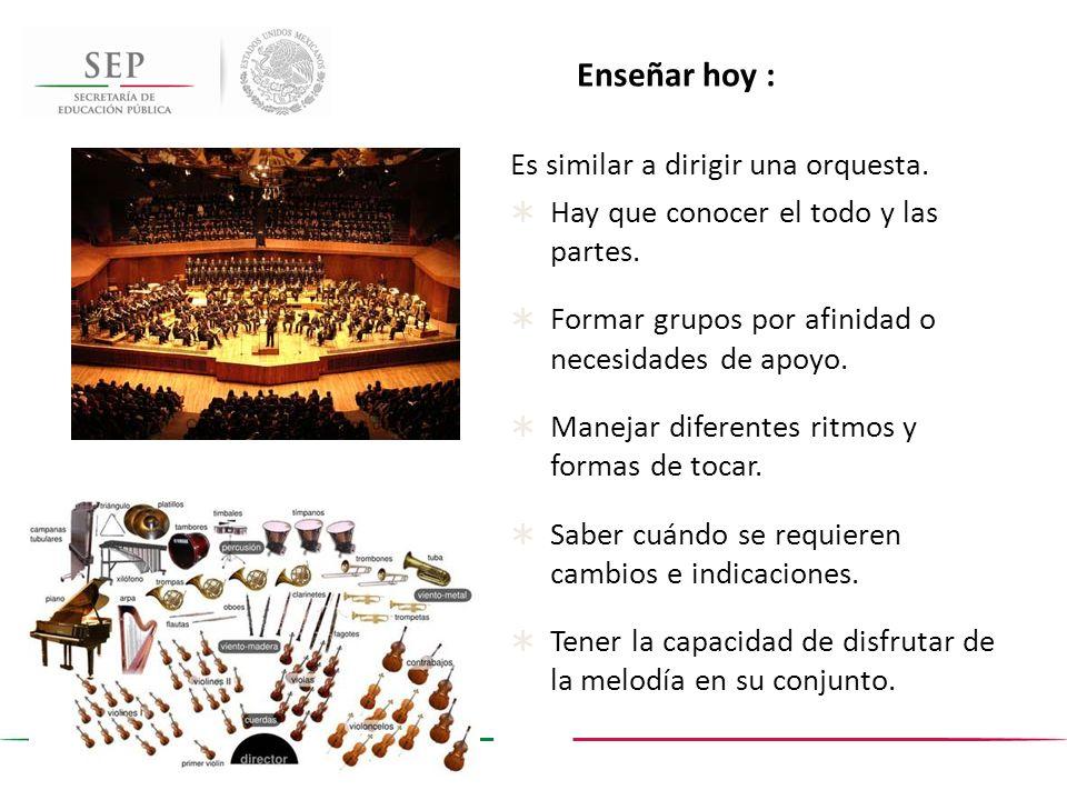 Enseñar hoy : Es similar a dirigir una orquesta.