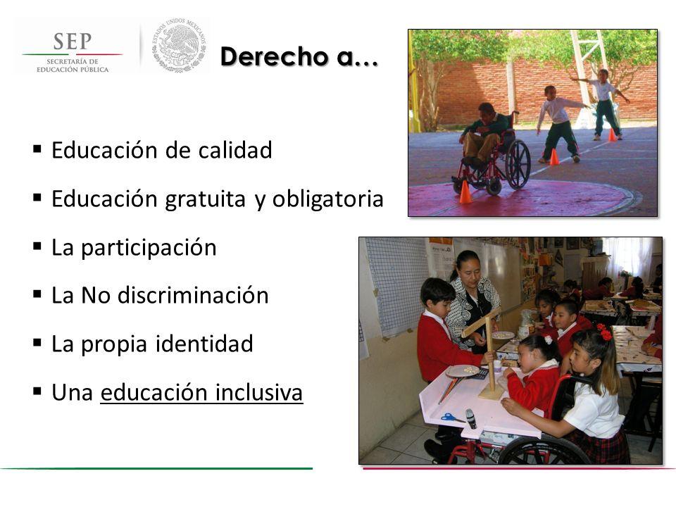 Derecho a… Educación de calidad. Educación gratuita y obligatoria. La participación. La No discriminación.