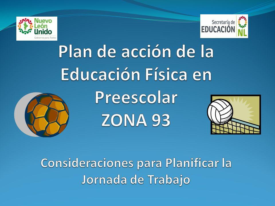 Plan de acción de la Educación Física en Preescolar ZONA 93 Consideraciones para Planificar la Jornada de Trabajo
