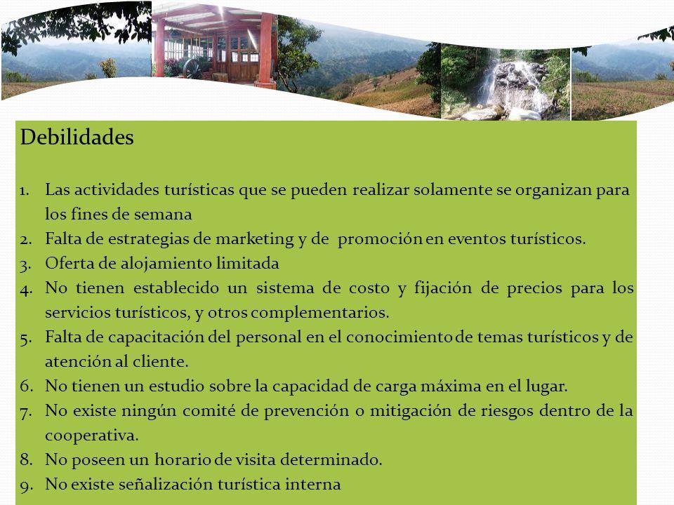 Debilidades Las actividades turísticas que se pueden realizar solamente se organizan para los fines de semana.