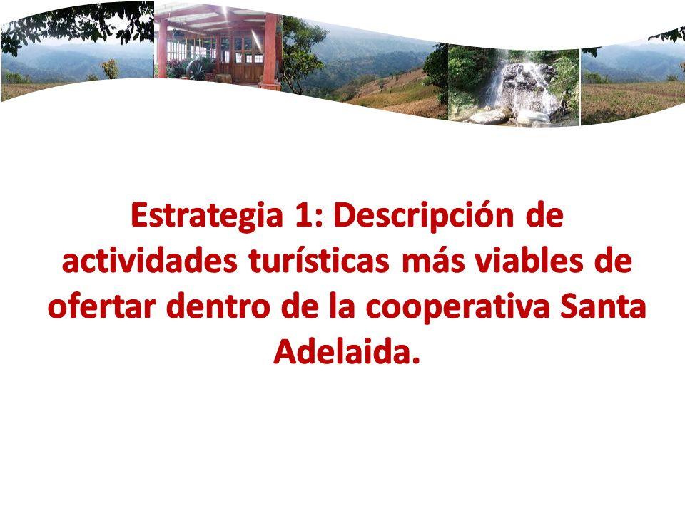 Estrategia 1: Descripción de actividades turísticas más viables de ofertar dentro de la cooperativa Santa Adelaida.