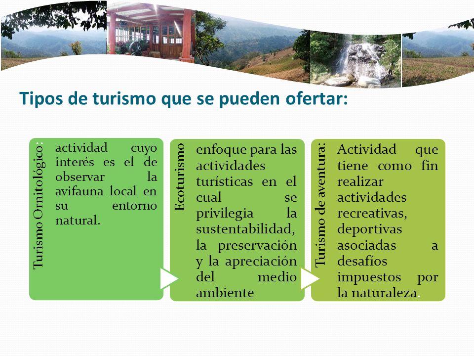 Tipos de turismo que se pueden ofertar: