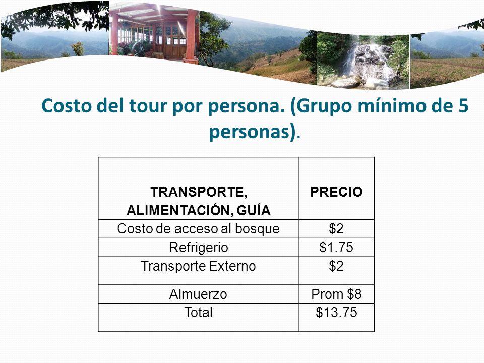 Costo del tour por persona. (Grupo mínimo de 5 personas).