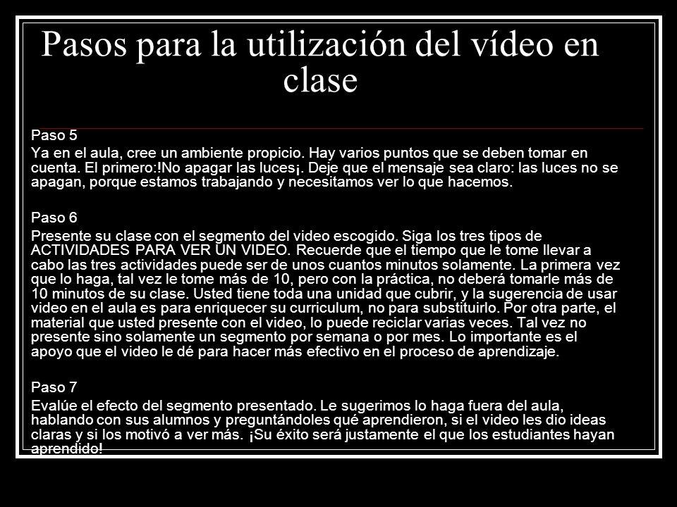 Pasos para la utilización del vídeo en clase
