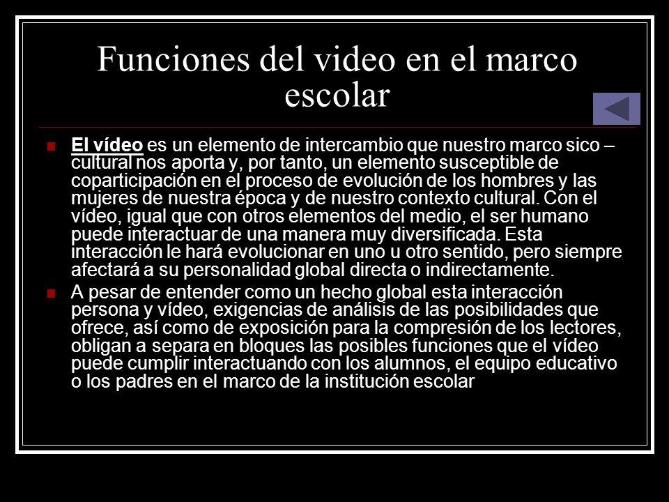 Funciones del video en el marco escolar