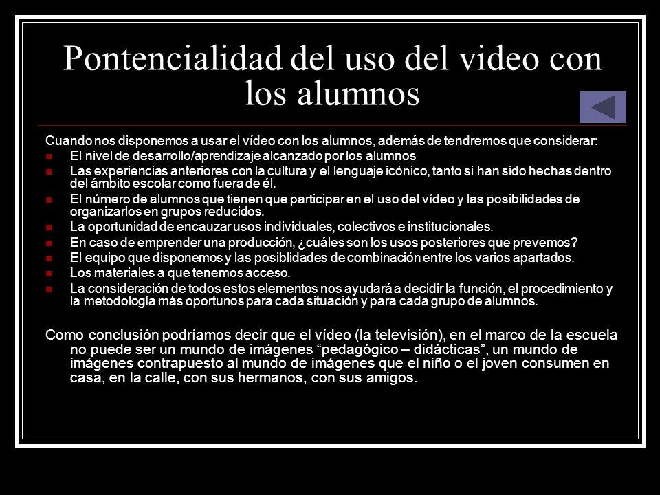 Pontencialidad del uso del video con los alumnos