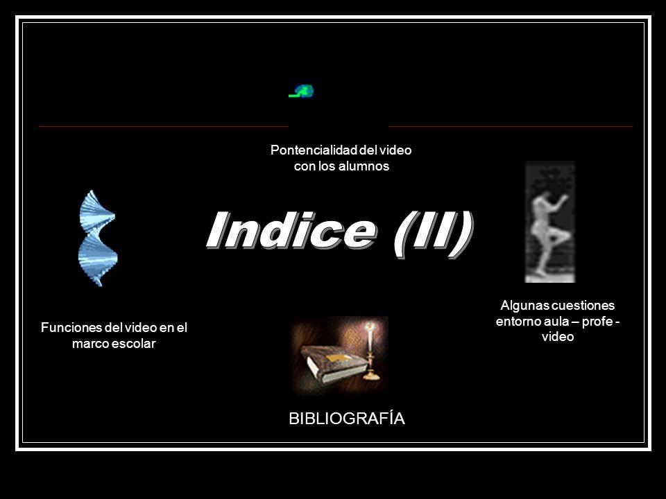 Indice (II) BIBLIOGRAFÍA Pontencialidad del video con los alumnos