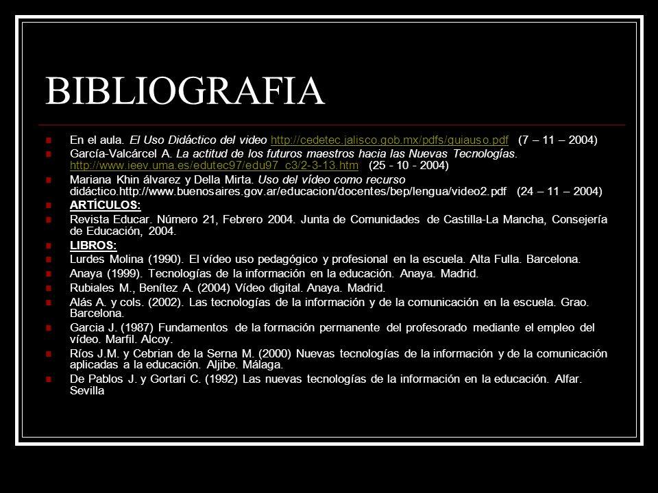 BIBLIOGRAFIA En el aula. El Uso Didáctico del video http://cedetec.jalisco.gob.mx/pdfs/guiauso.pdf (7 – 11 – 2004)