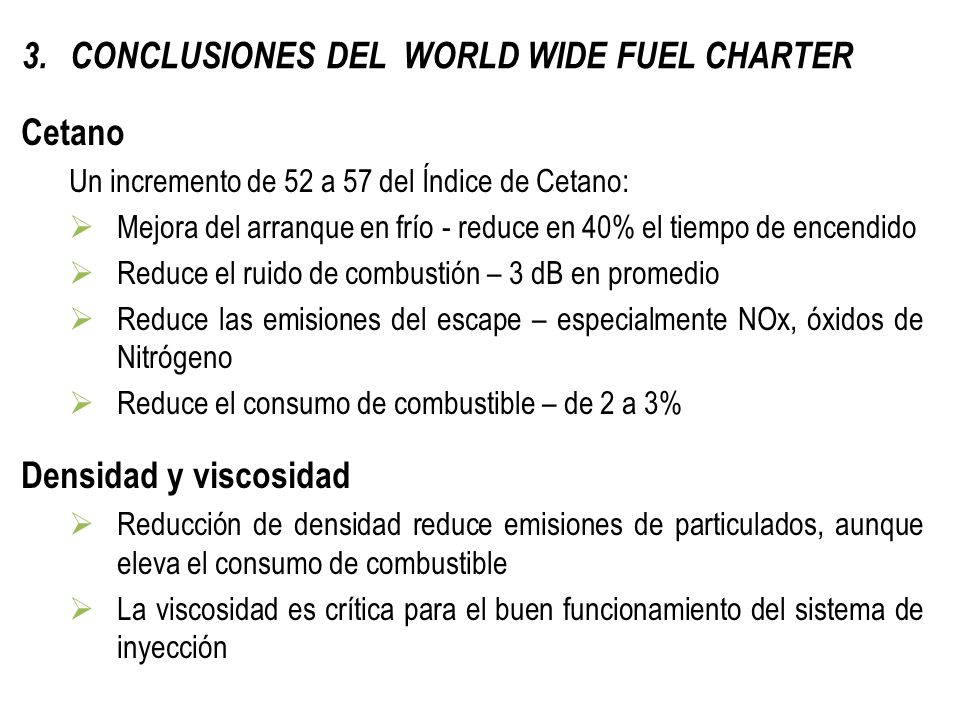 CONCLUSIONES DEL WORLD WIDE FUEL CHARTER
