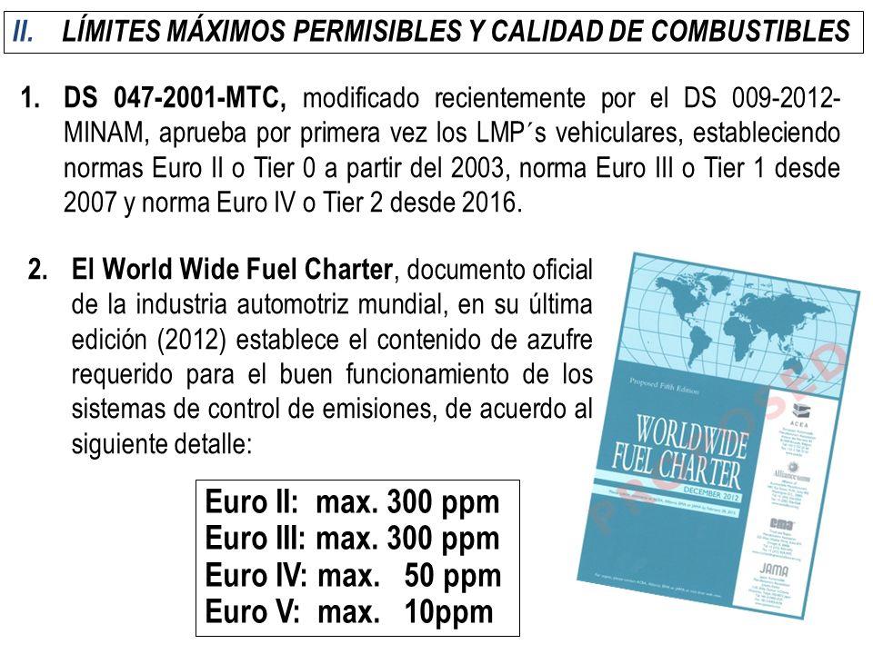 LÍMITES MÁXIMOS PERMISIBLES Y CALIDAD DE COMBUSTIBLES
