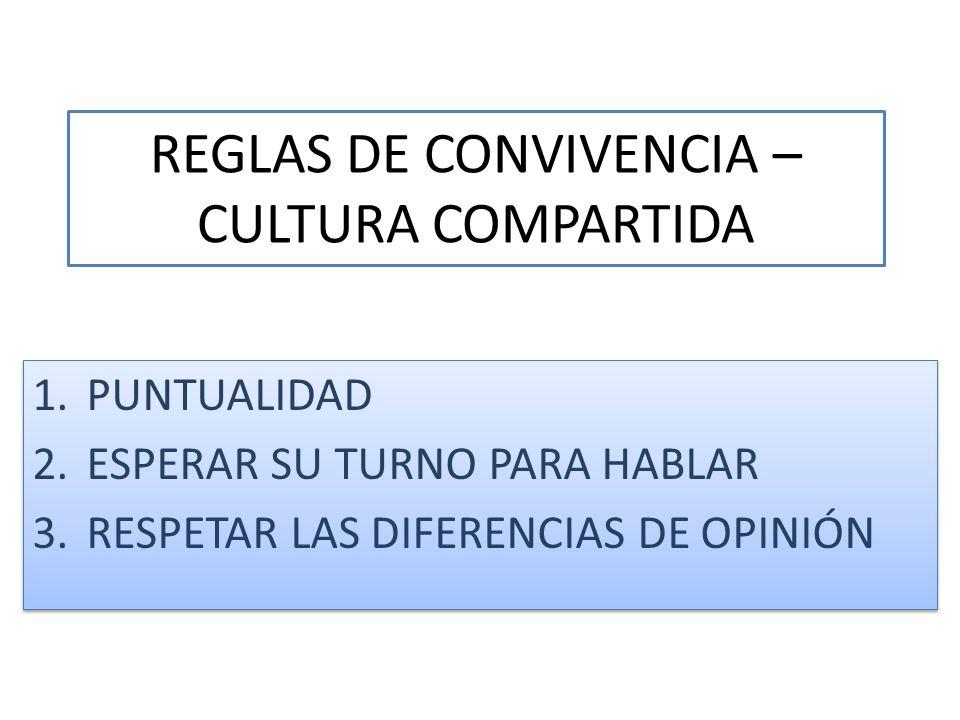 REGLAS DE CONVIVENCIA – CULTURA COMPARTIDA