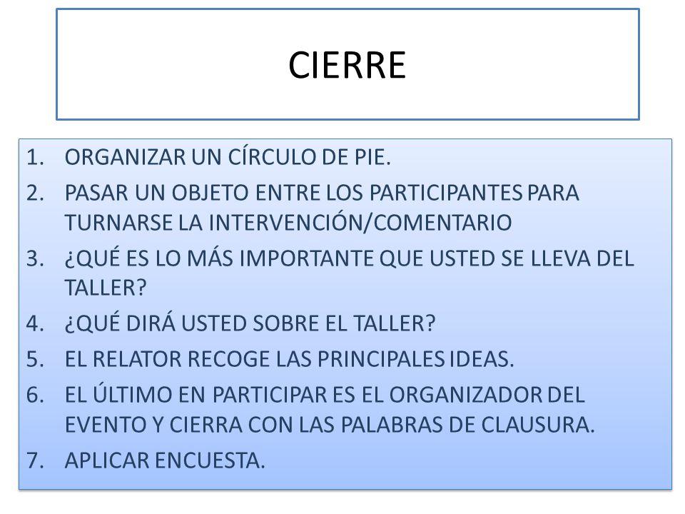 CIERRE ORGANIZAR UN CÍRCULO DE PIE.