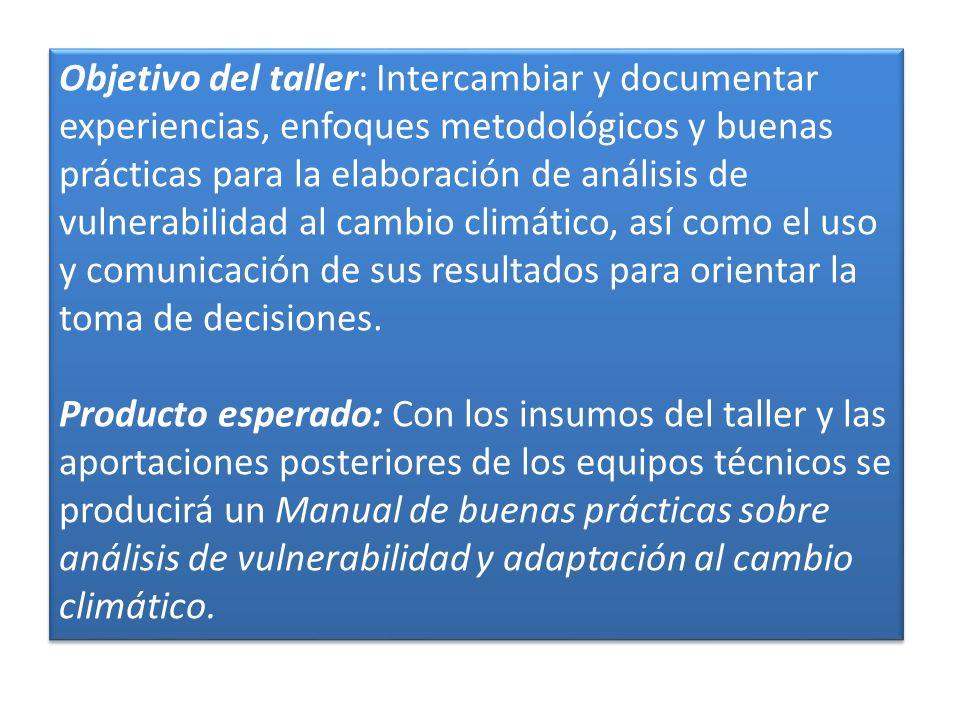 Objetivo del taller: Intercambiar y documentar experiencias, enfoques metodológicos y buenas prácticas para la elaboración de análisis de vulnerabilidad al cambio climático, así como el uso y comunicación de sus resultados para orientar la toma de decisiones.