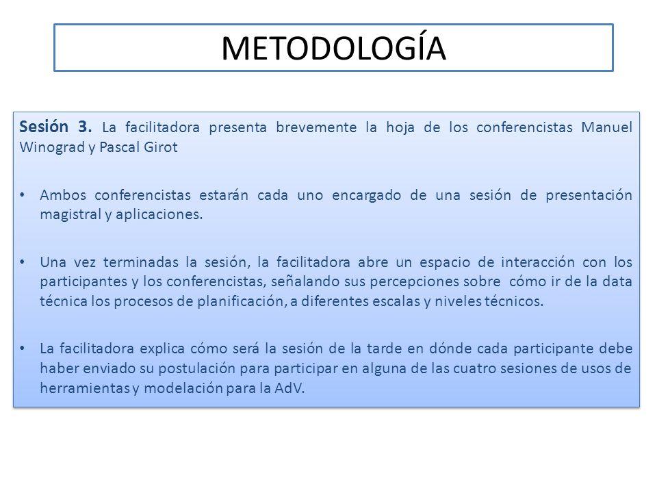 METODOLOGÍA Sesión 3. La facilitadora presenta brevemente la hoja de los conferencistas Manuel Winograd y Pascal Girot.