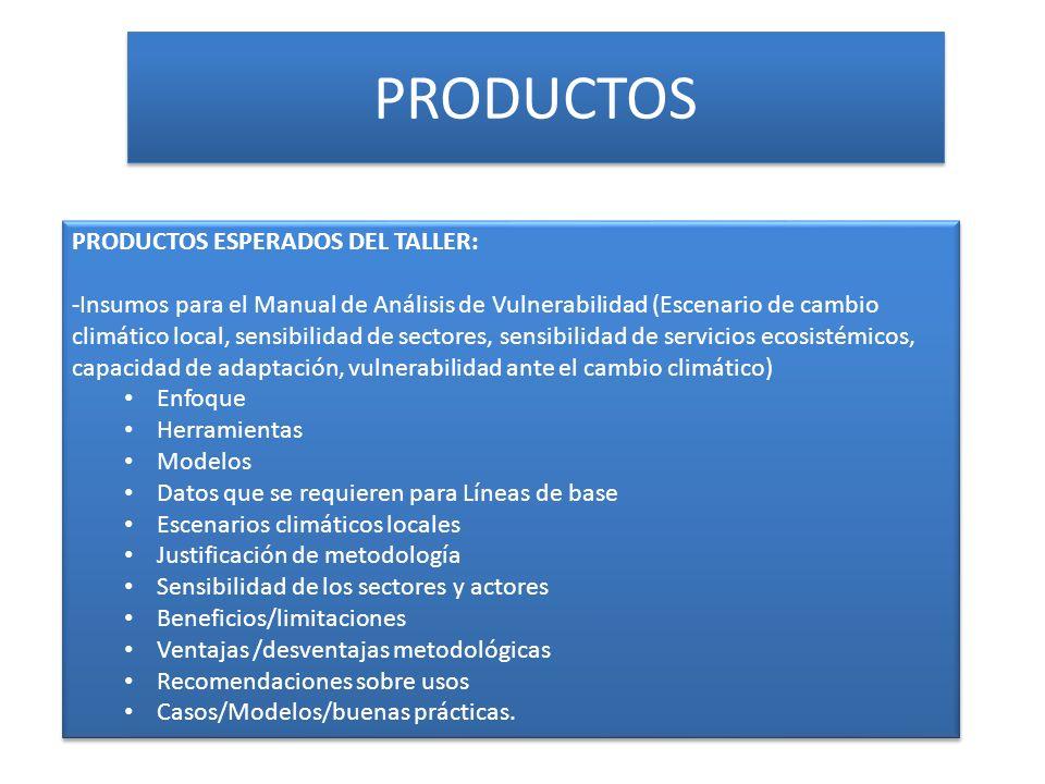 PRODUCTOS PRODUCTOS ESPERADOS DEL TALLER: