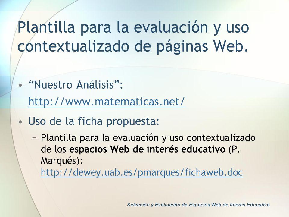Plantilla para la evaluación y uso contextualizado de páginas Web.
