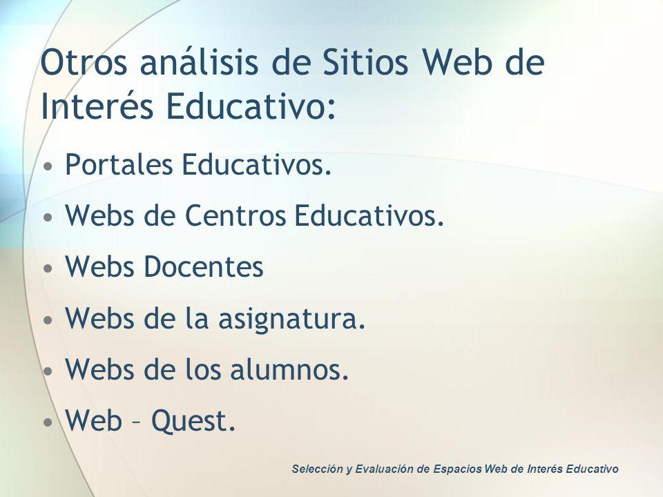 Otros análisis de Sitios Web de Interés Educativo: