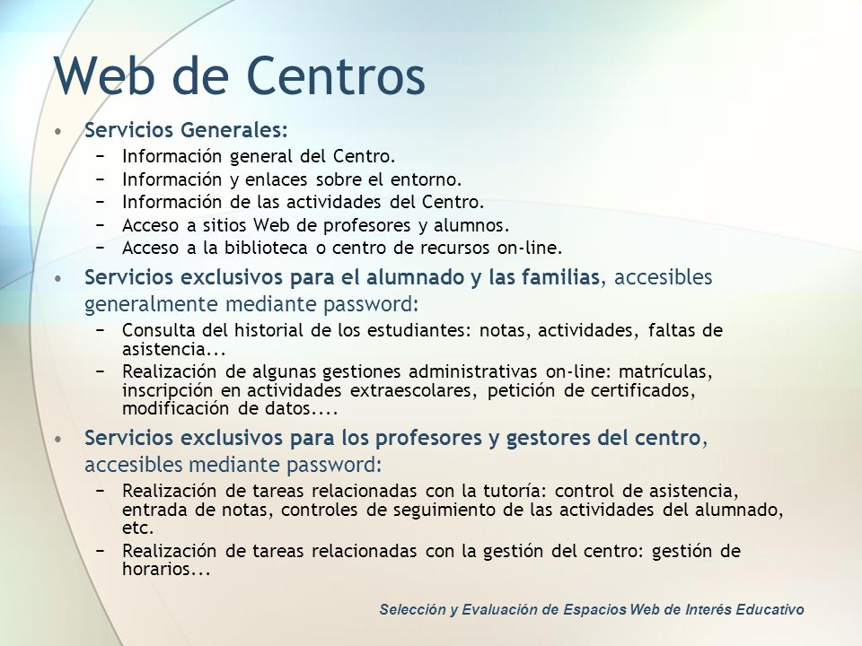Web de Centros Servicios Generales: