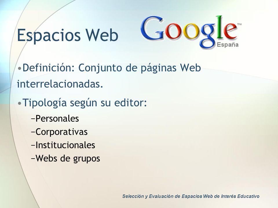 Espacios Web Definición: Conjunto de páginas Web interrelacionadas.