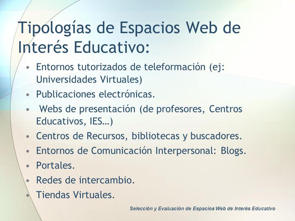 Tipologías de Espacios Web de Interés Educativo: