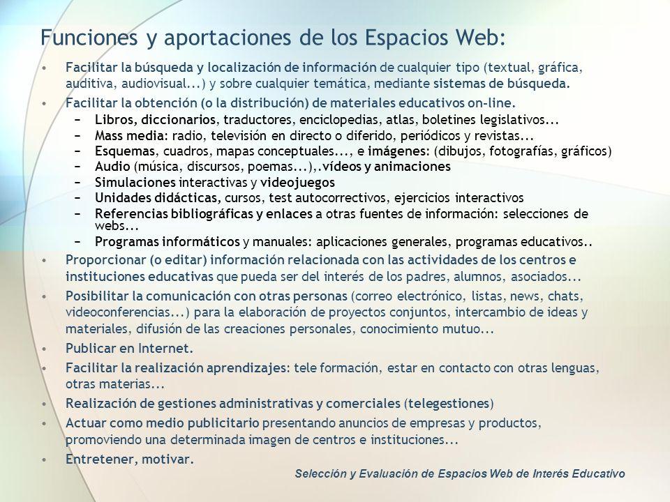 Funciones y aportaciones de los Espacios Web: