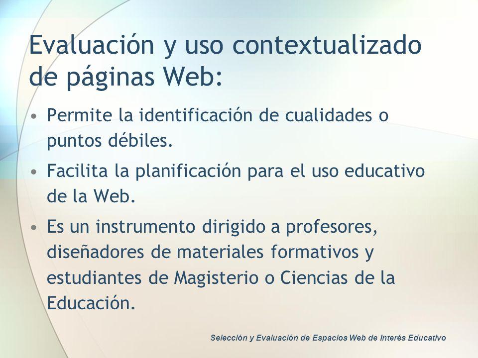 Evaluación y uso contextualizado de páginas Web: