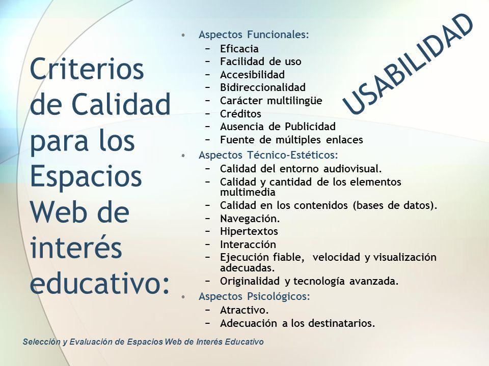 Criterios de Calidad para los Espacios Web de interés educativo: