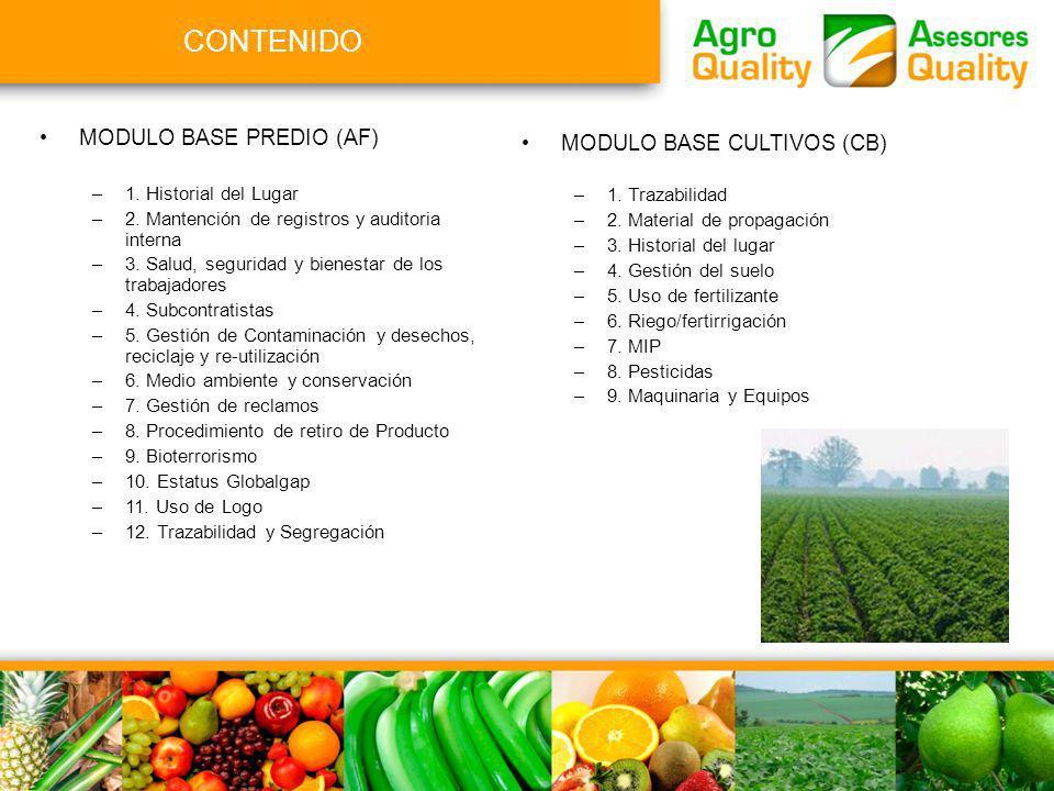 CONTENIDO MODULO BASE PREDIO (AF) MODULO BASE CULTIVOS (CB)