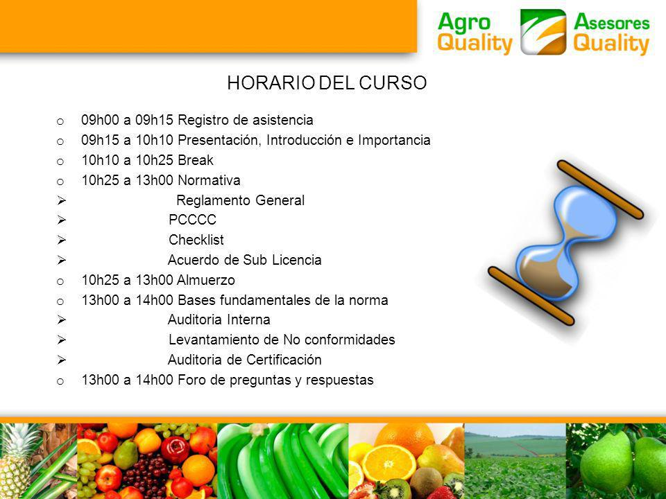 HORARIO DEL CURSO 09h00 a 09h15 Registro de asistencia
